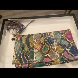 Gucci soho python multi color clutch